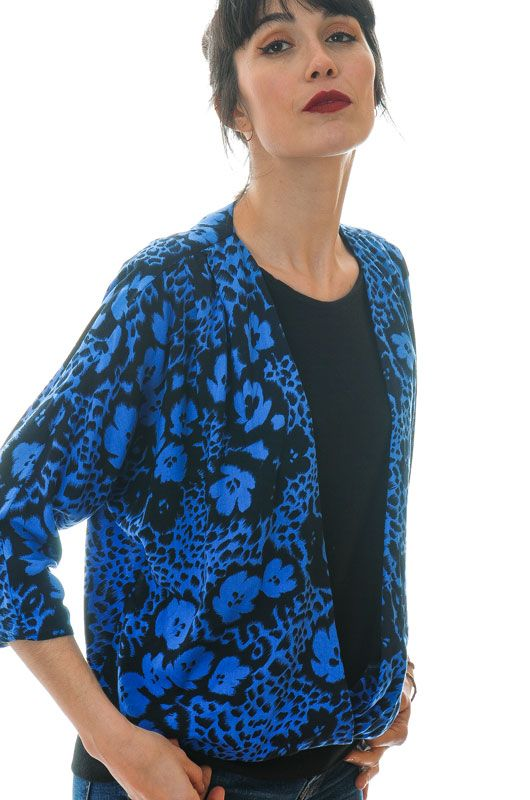 Vintage 80s Bat Draped Blue Blouse Size M - L - 4
