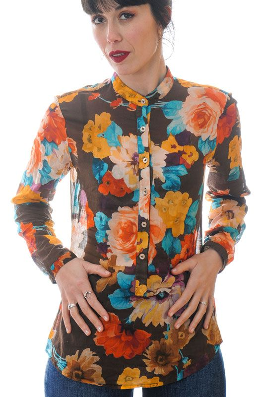 Vintage Shirt 00s Big Roses Neck Mao Brown Size M - 1