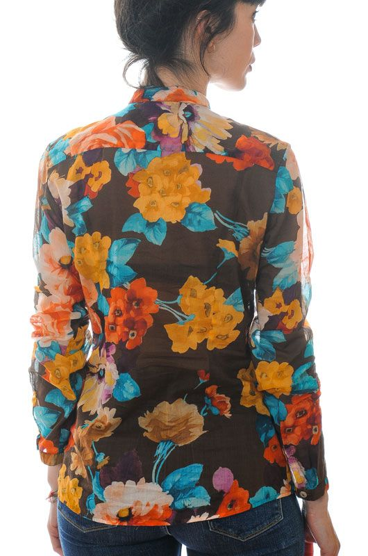 Vintage Shirt 00s Big Roses Neck Mao Brown Size M - 4