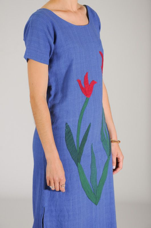 Maxi Vintage 90s Dress - Tunic Embroidered Flower Size M - 2