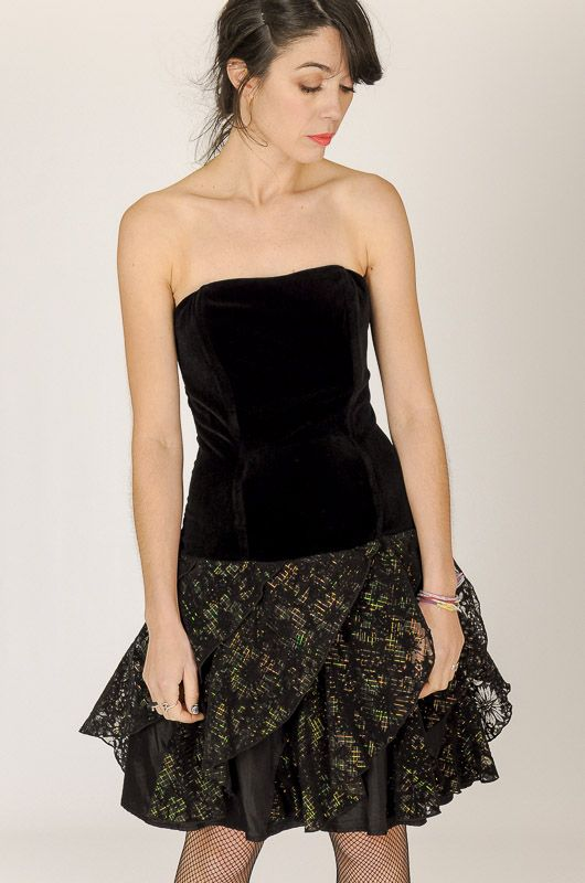 Vintage 80s Velvet Tulle Floral Party Prom Dress Size S - M - 1