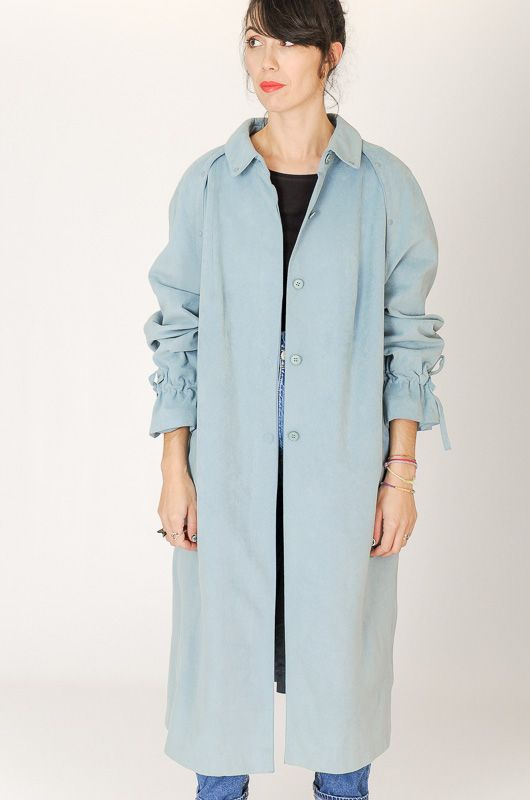 Trench Vintage 90s Efecto Ante Azul Cordóns Oversize Talle M - L - 3