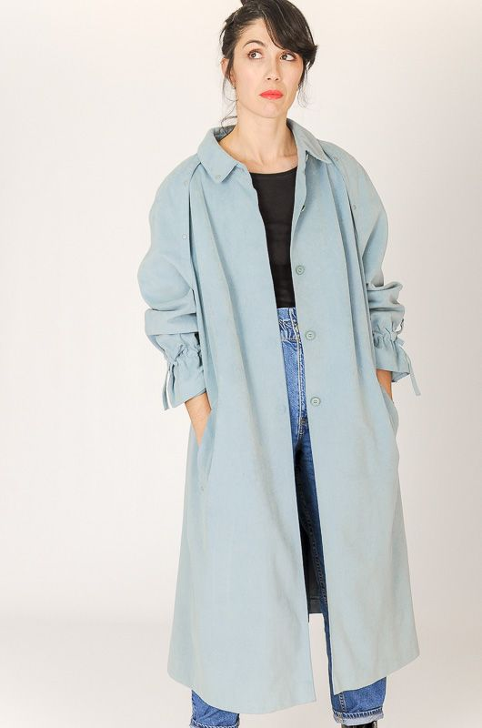 Trench Vintage 90s Efecto Ante Azul Cordóns Oversize Talle M - L - 4
