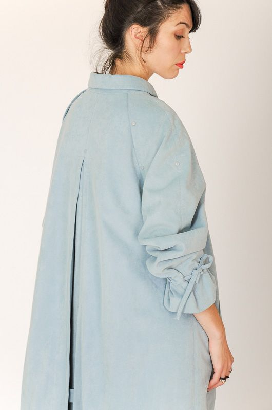 Trench Vintage 90s Efecto Ante Azul Cordóns Oversize Talle M - L - 8