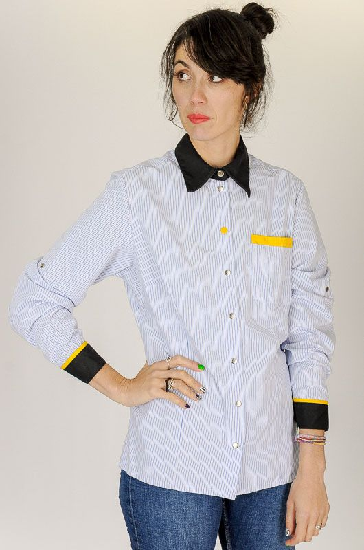 Camisa Vintage 90s Rayas Contraste Working Talla M - L - 3