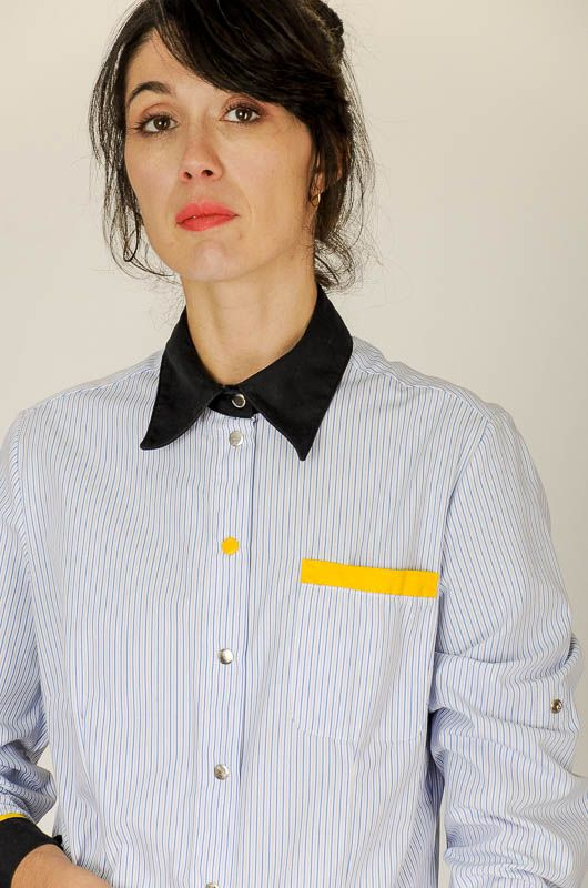 Camisa Vintage 90s Rayas Contraste Working Talla M - L - 4