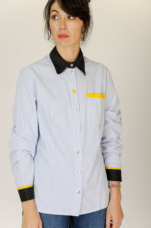 Camisa Vintage 90s Rayas Contraste Working Talla M - L - 5