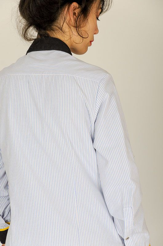 Camisa Vintage 90s Rayas Contraste Working Talla M - L - 8