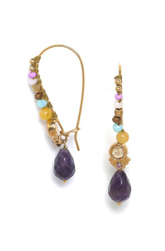 Les Inseparable Franck Herval Drop Violet Gold Earrings - 1