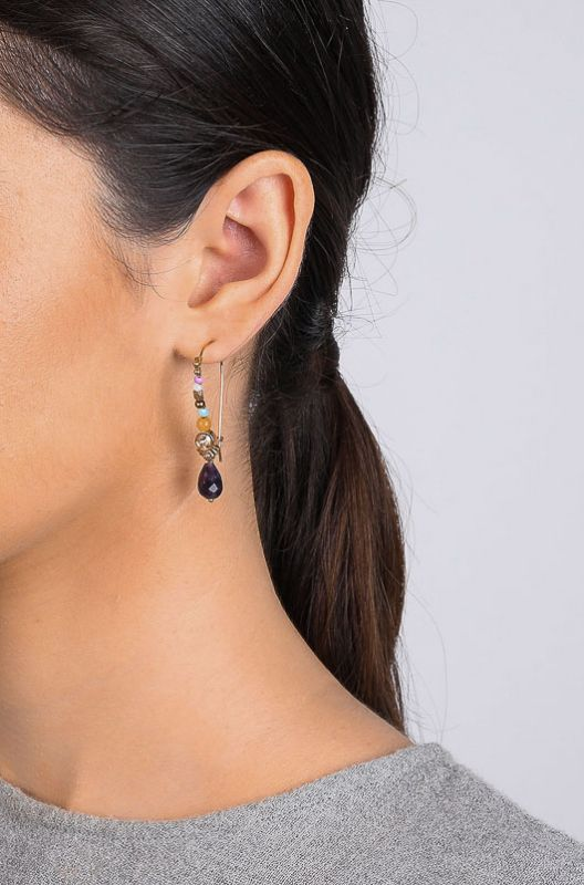 Les Inseparable Franck Herval Drop Violet Gold Earrings - 2