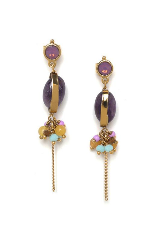 Les Inseparables Pendant Earrings Franck Herval Amethyst Gold - 1
