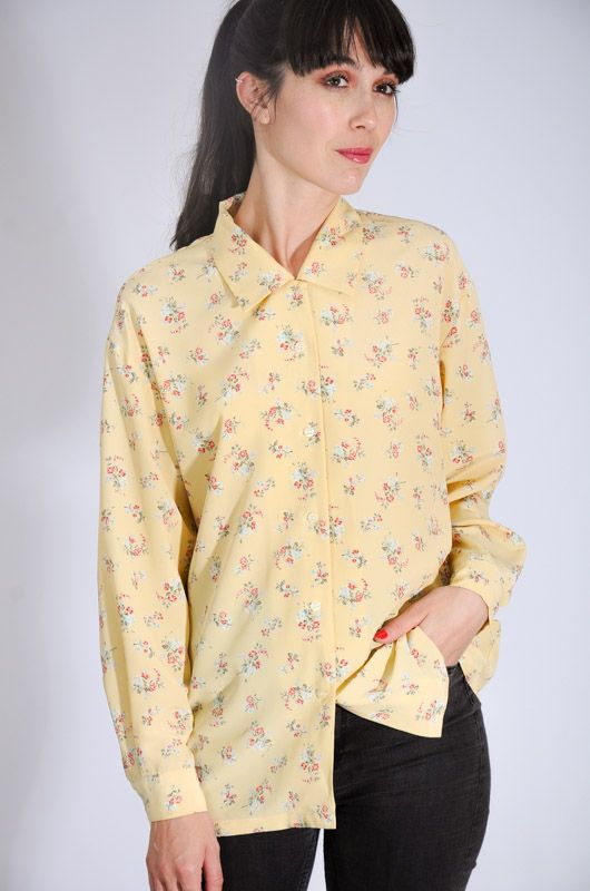 Camisa Xo Collections Amarilla Bouquet Talla M - 1