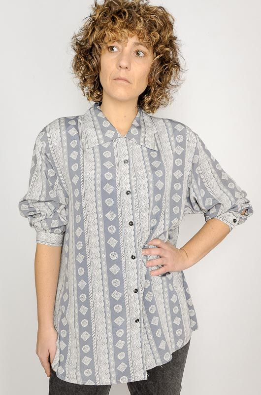 Camisa Larga Xo Collections Étnica Crochet Gris Talla XL - 2