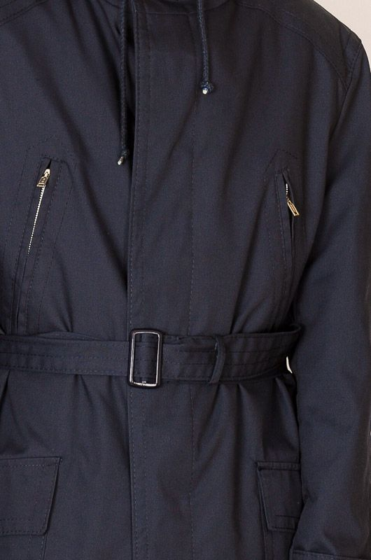 Navy Classic Vintage Trench Coat Parka Belt Size L - XL - 3