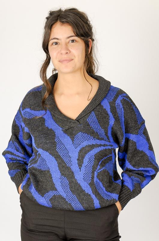 Knitted Vintage 80s Blue Printed Sweater Size M - 2