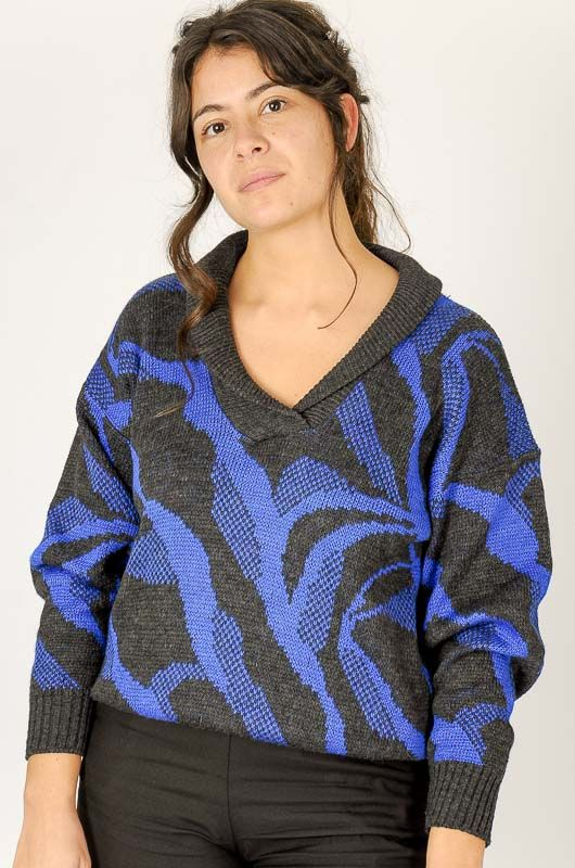 Knitted Vintage 80s Blue Printed Sweater Size M - 3