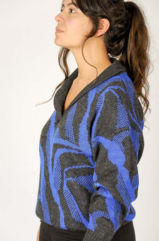 Knitted Vintage 80s Blue Printed Sweater Size M - 4