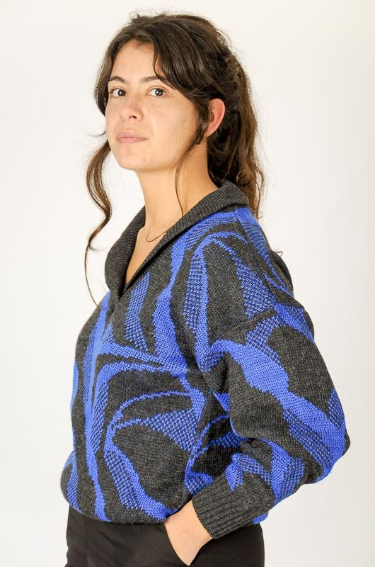Knitted Vintage 80s Blue Printed Sweater Size M - 1