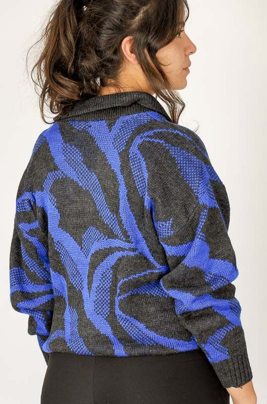 Knitted Vintage 80s Blue Printed Sweater Size M - 5