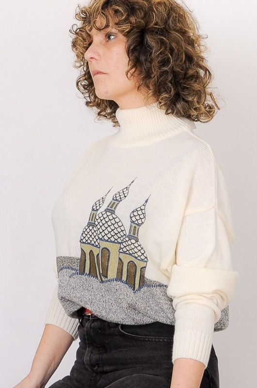 Vintage Knitted Sweater Perkins Mosque Size M - L - 6