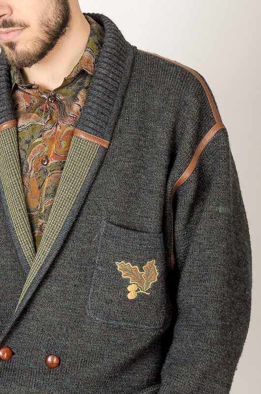 Vintage 80s Cardigan Pocket Embroidery Textures Size M - 5