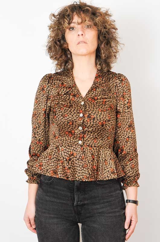 Vintage 70s Daisies Brown Blouse Size S - 1