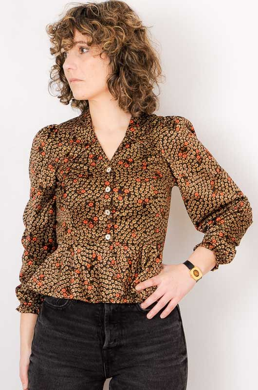 Vintage 70s Daisies Brown Blouse Size S - 2