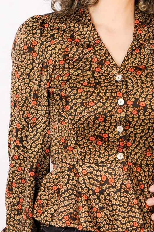 Vintage 70s Daisies Brown Blouse Size S - 4