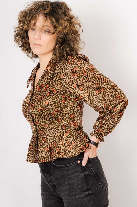 Vintage 70s Daisies Brown Blouse Size S - 5