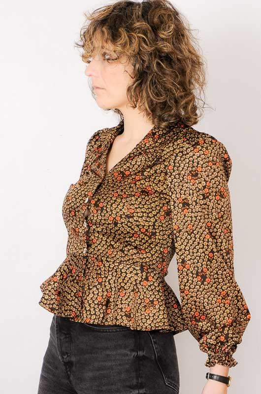 Vintage 70s Daisies Brown Blouse Size S - 3