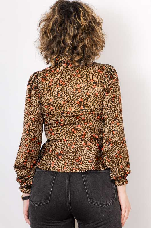 Vintage 70s Daisies Brown Blouse Size S - 6