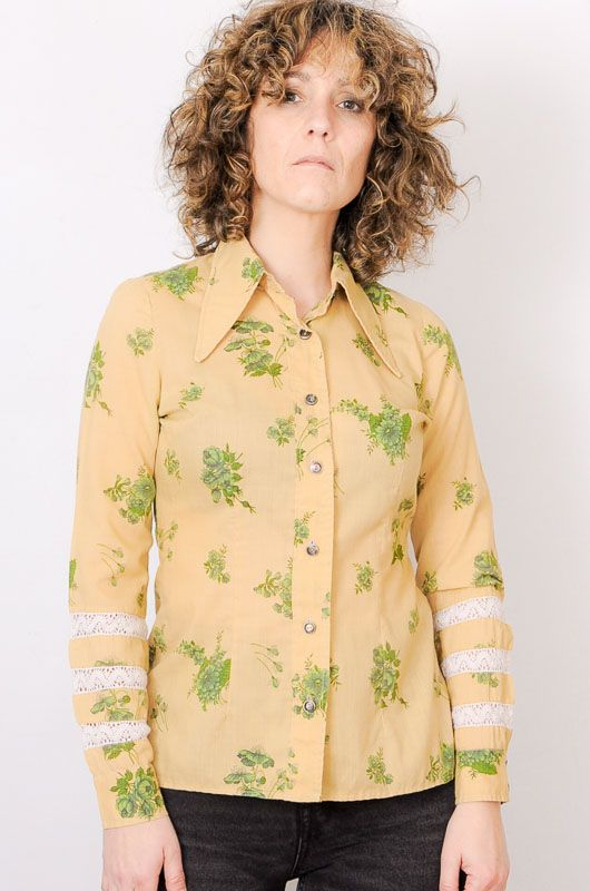 Camisa Vintage 60s 70s Beis Flores Crochet Talla S - 2