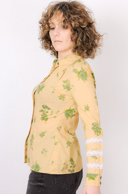 Camisa Vintage 60s 70s Beis Flores Crochet Talla S - 3