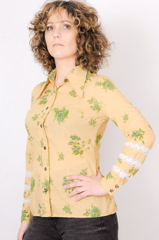 Camisa Vintage 60s 70s Beis Flores Crochet Talla S - 1