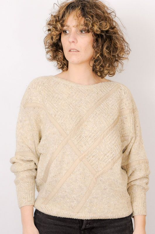 Vintage 80s 90s Textures Sand Sweater Size M - 1