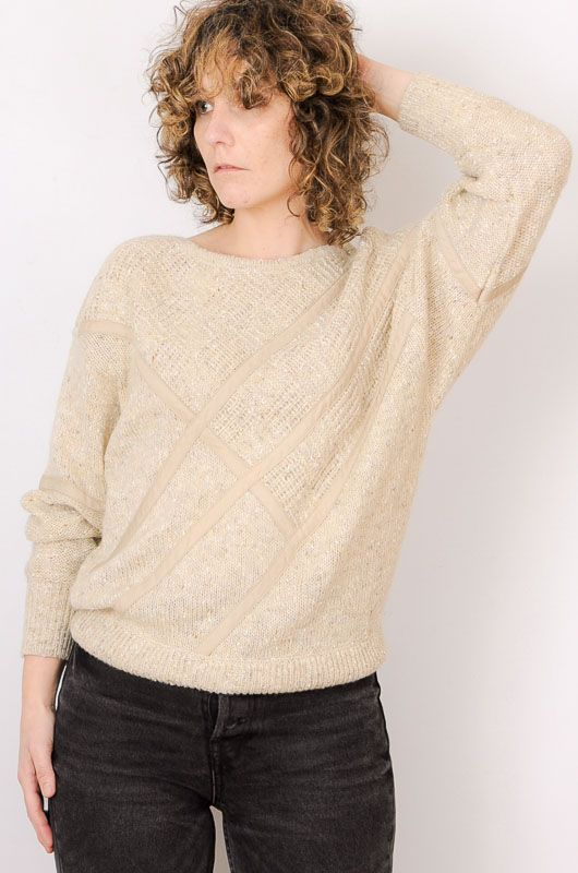 Vintage 80s 90s Textures Sand Sweater Size M - 3