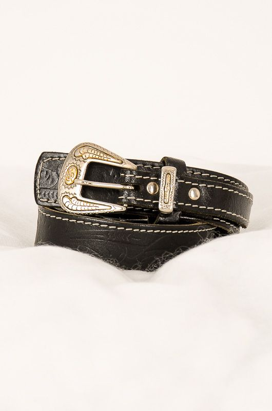 Vintage Black Drawn Wings Leather Belt - 1