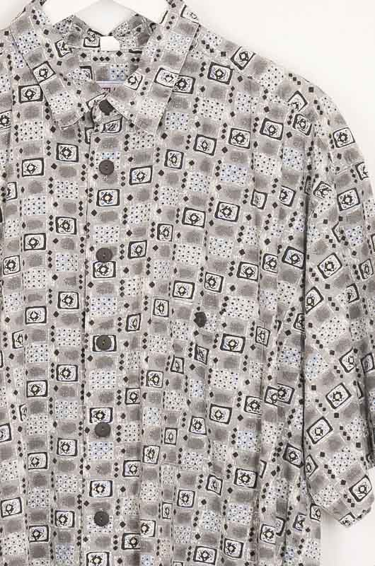 Vintage Hawaii Tribal 90s Gray Cotton Shirt Size XL - 2