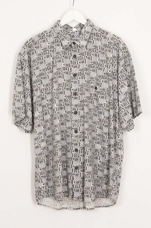 Vintage Hawaii Tribal 90s Gray Cotton Shirt Size XL - 1