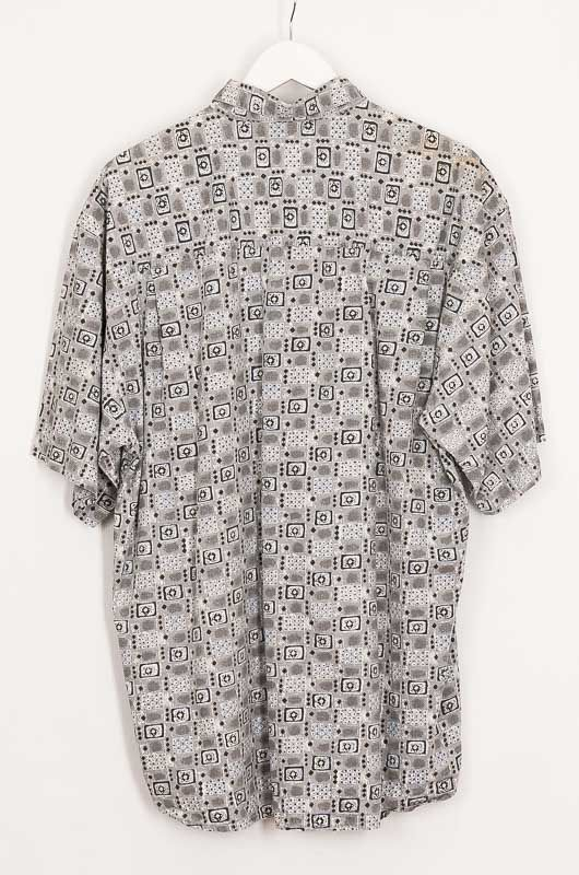 Vintage Hawaii Tribal 90s Gray Cotton Shirt Size XL - 3