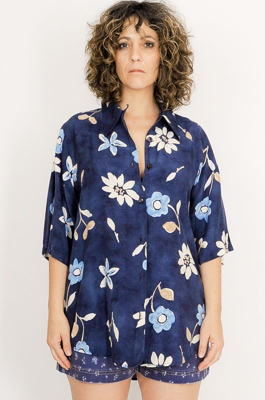 Vintage 90s Hawaiian Festival Blue Flowers Shirt Size XL - 2