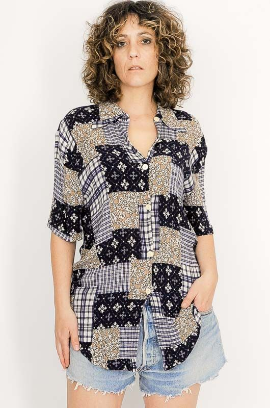 Camisa Vintage 90s Patchwork Azul Talle S - 2