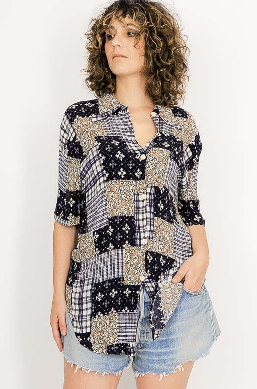 Camisa Vintage 90s Patchwork Azul Talle S - 3