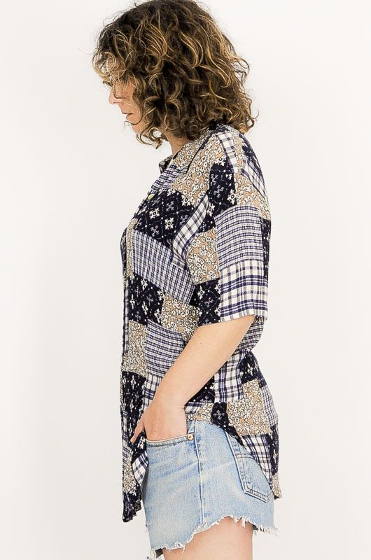 Camisa Vintage 90s Patchwork Azul Talle S - 4