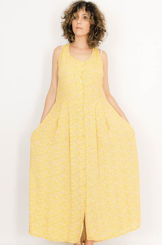 Vintage 90s Loose Yellow Little Flowers Dress Size M - 3