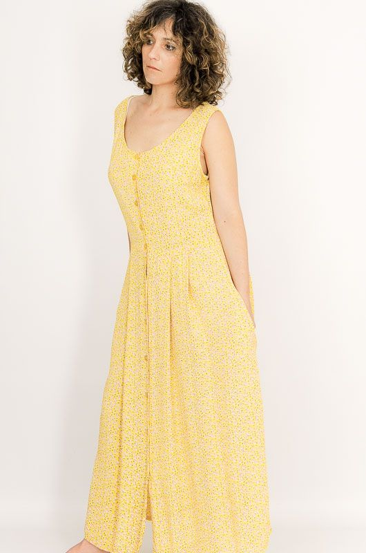 Vintage 90s Loose Yellow Little Flowers Dress Size M - 4