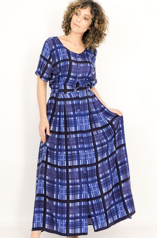 Vintage 90s Blue Checkered Adjustable Dress Size S - M - 2