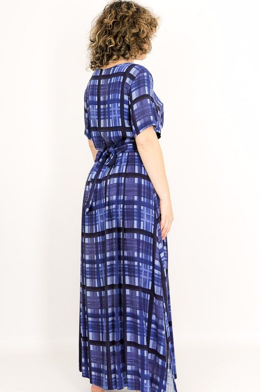 Vintage 90s Blue Checkered Adjustable Dress Size S - M - 5