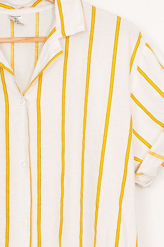 Vintage 90s Yellow Striped Cotton Shirt Size M - L - 2
