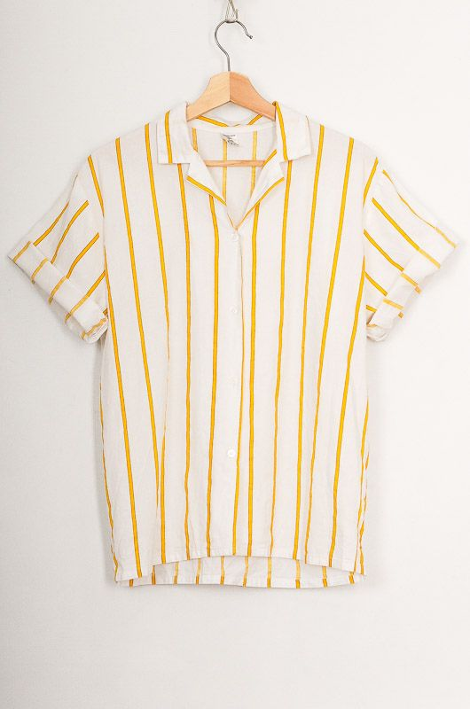 Vintage 90s Yellow Striped Cotton Shirt Size M - L - 1
